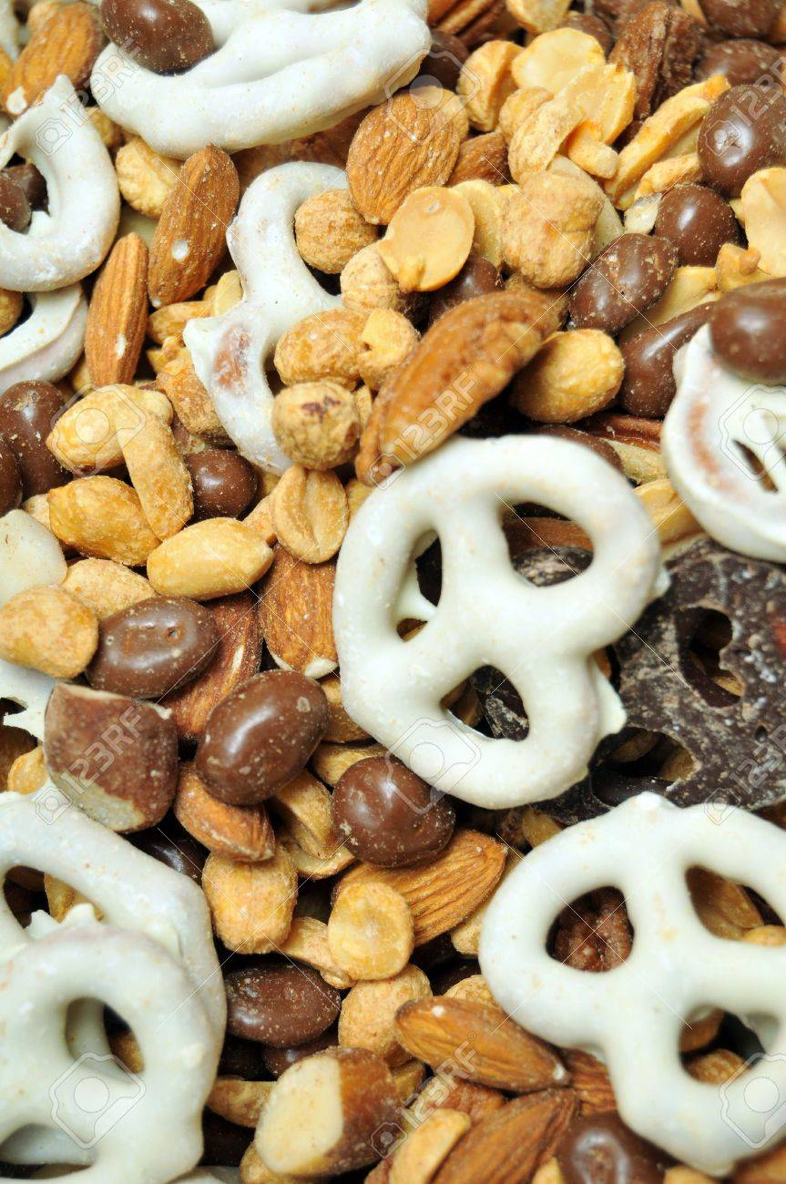 Trail Mix Contains White Chocolate Covered Pretzels, Chocolate ...