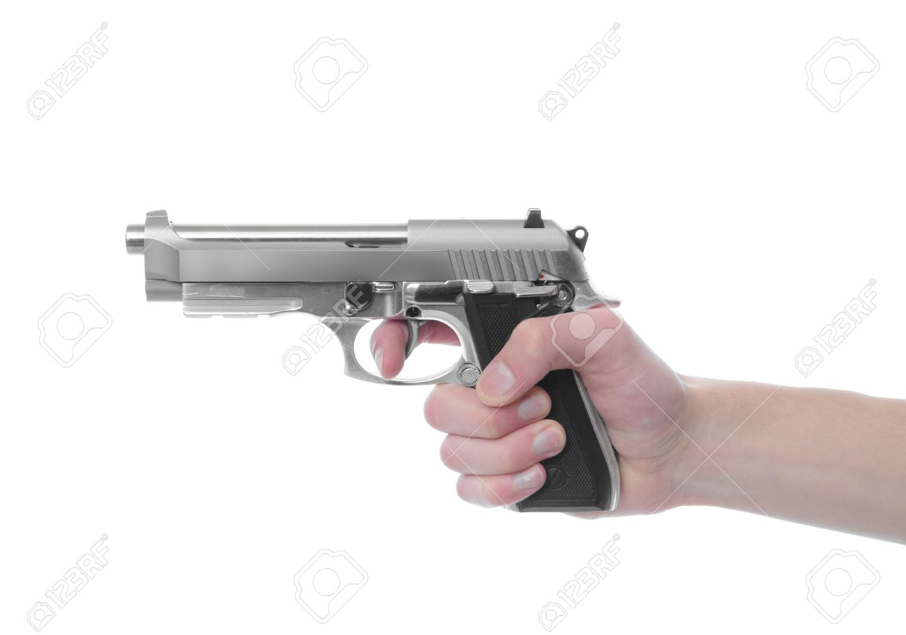 hand holding a handgun pistol 357 magnum isolated on white