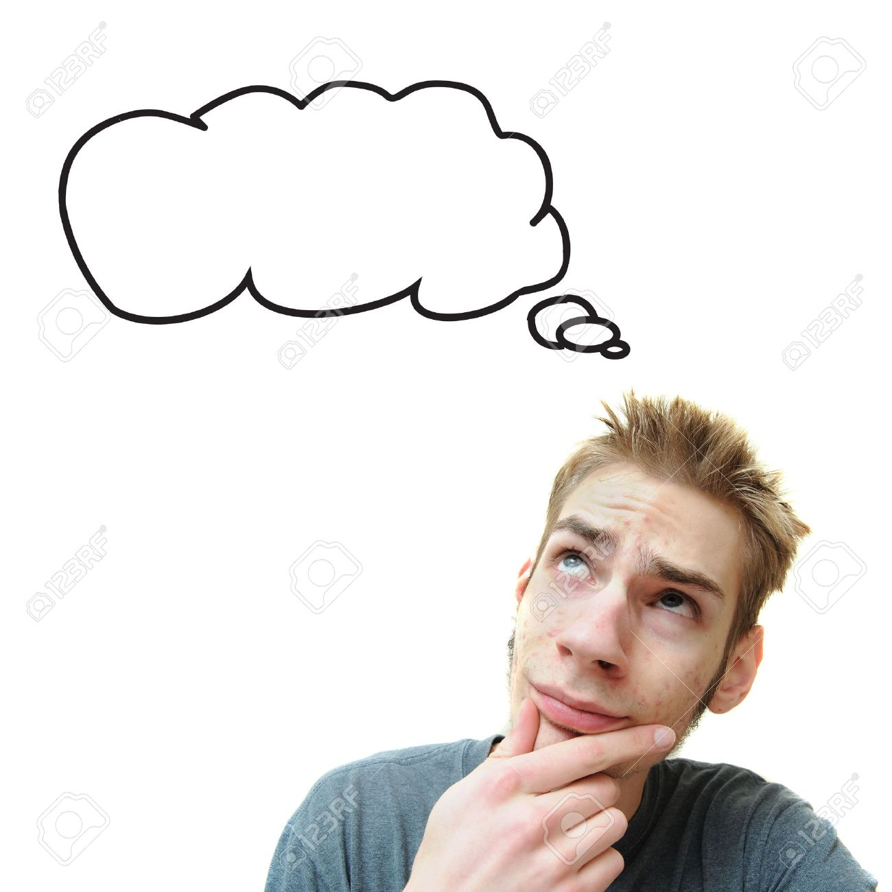 A young white male adult thinks in his think bubble caption. Isolated on white background. Stock Photo - 6500872