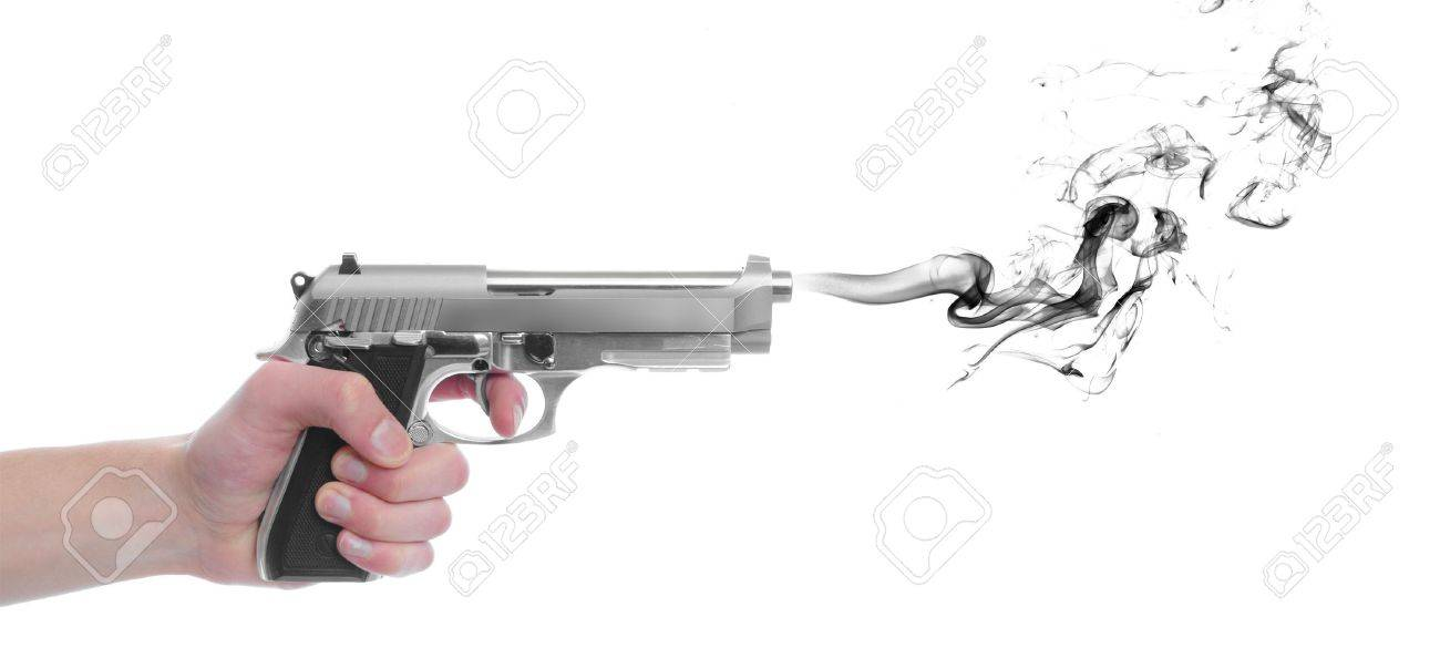 A hand gripping a pistol grip hand gun isolated on white background with black smoke with copyspace with room for your text Stock Photo - 6671901