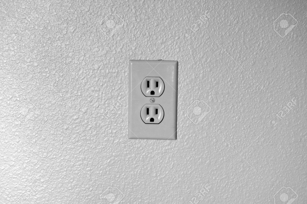 American Plug Electric Outlet On A Plain Neutral Black And White ...