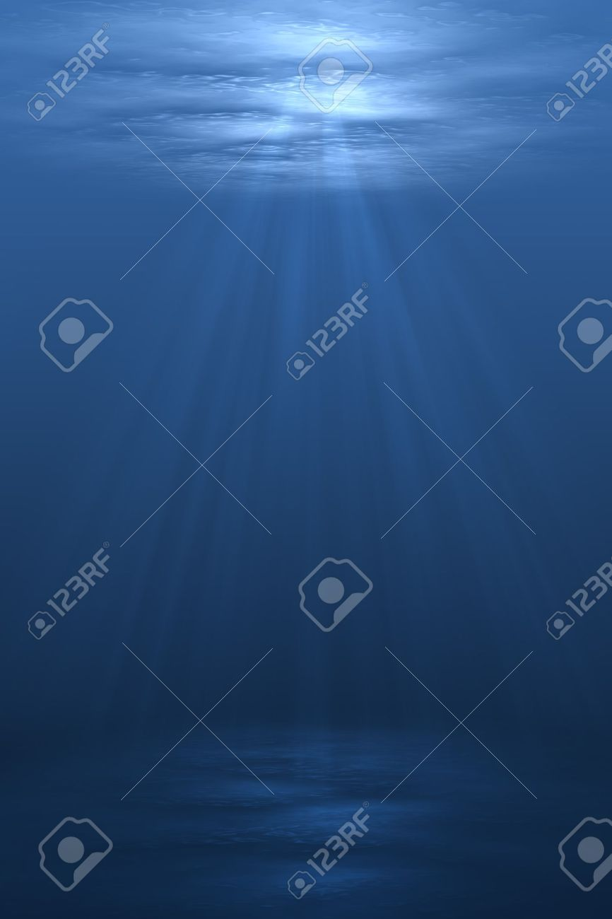 3D illustration background graphic of a blue underwater scene below the ocean sea. Stock Photo - 7300857
