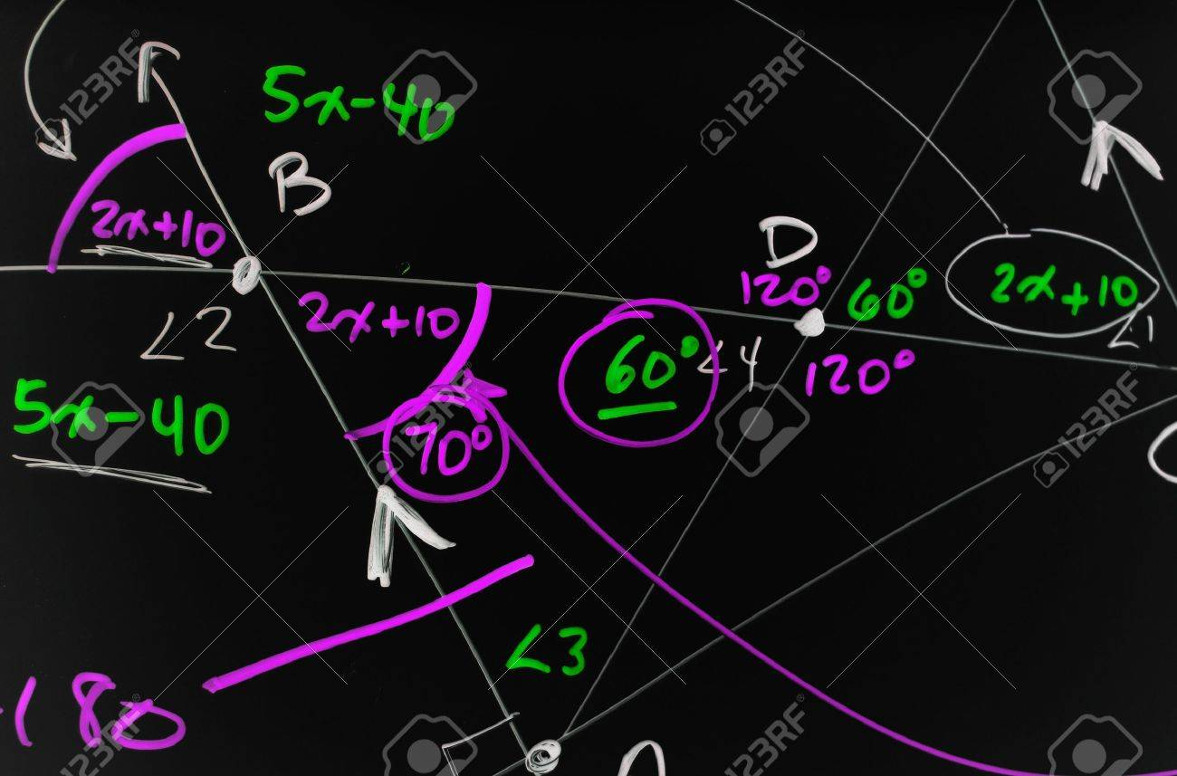 Several complex mathematical formulas, equations, and geometry written on a smooth black board. Stock Photo - 7572443
