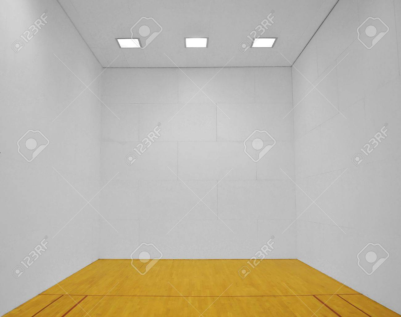 Large empty room with a wooden floor and white wooden tile walls with square lights on the ceiling and lots of open blank empty space. Stock Photo - 7680077