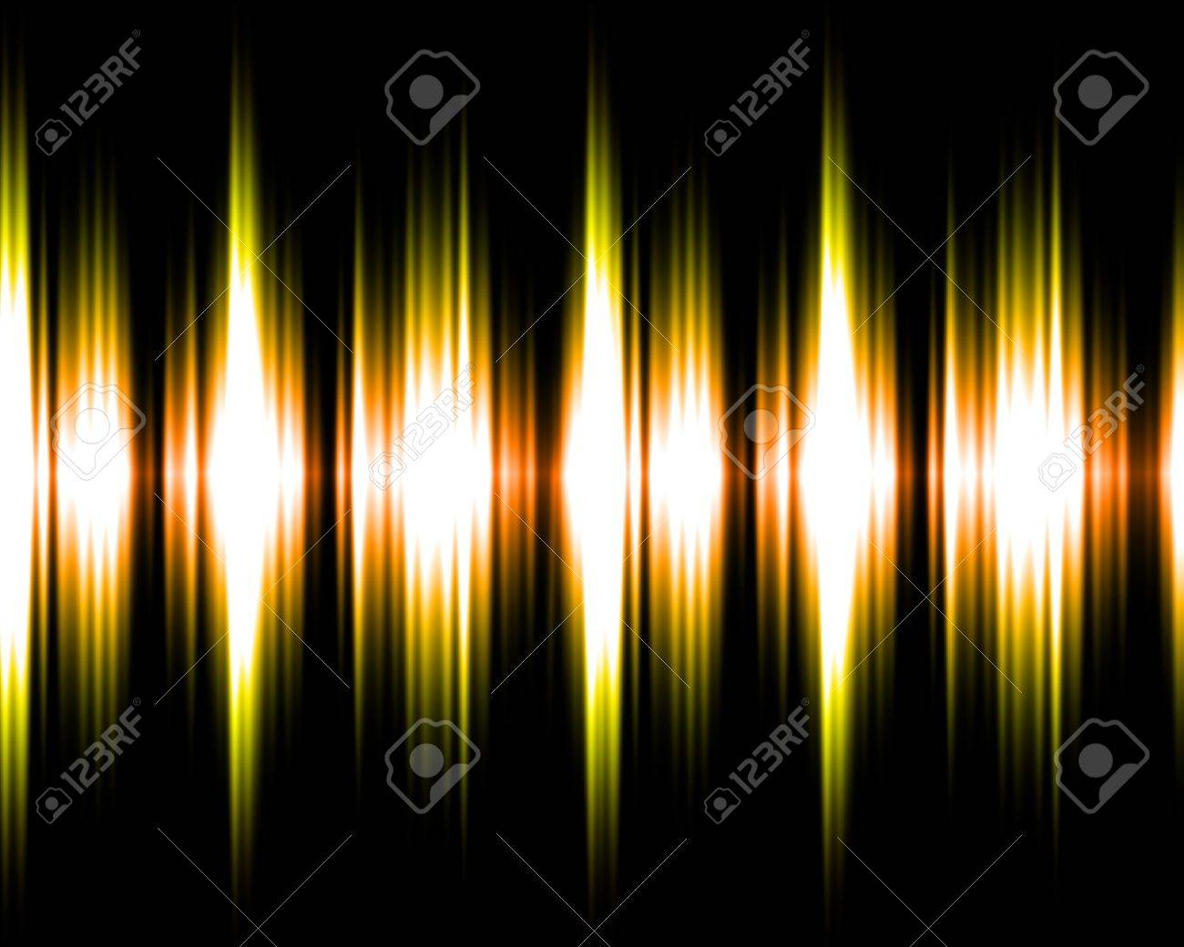 Gold and yellow audio soundwaves illustration on black background. Stock Illustration - 8307506