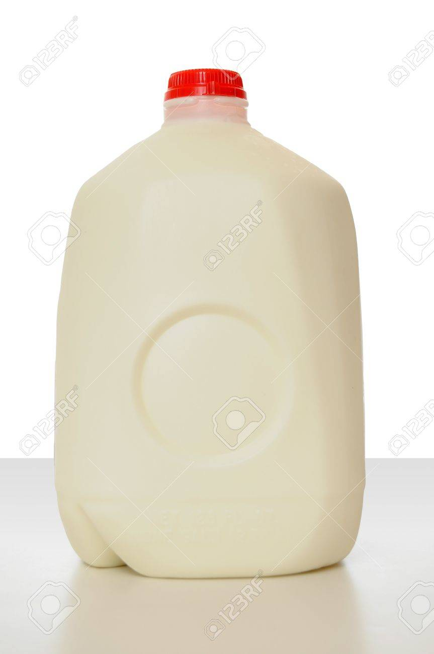 1 Gallon of Milk in a milk carton on a shiny table with white background. Stock Photo - 8749329