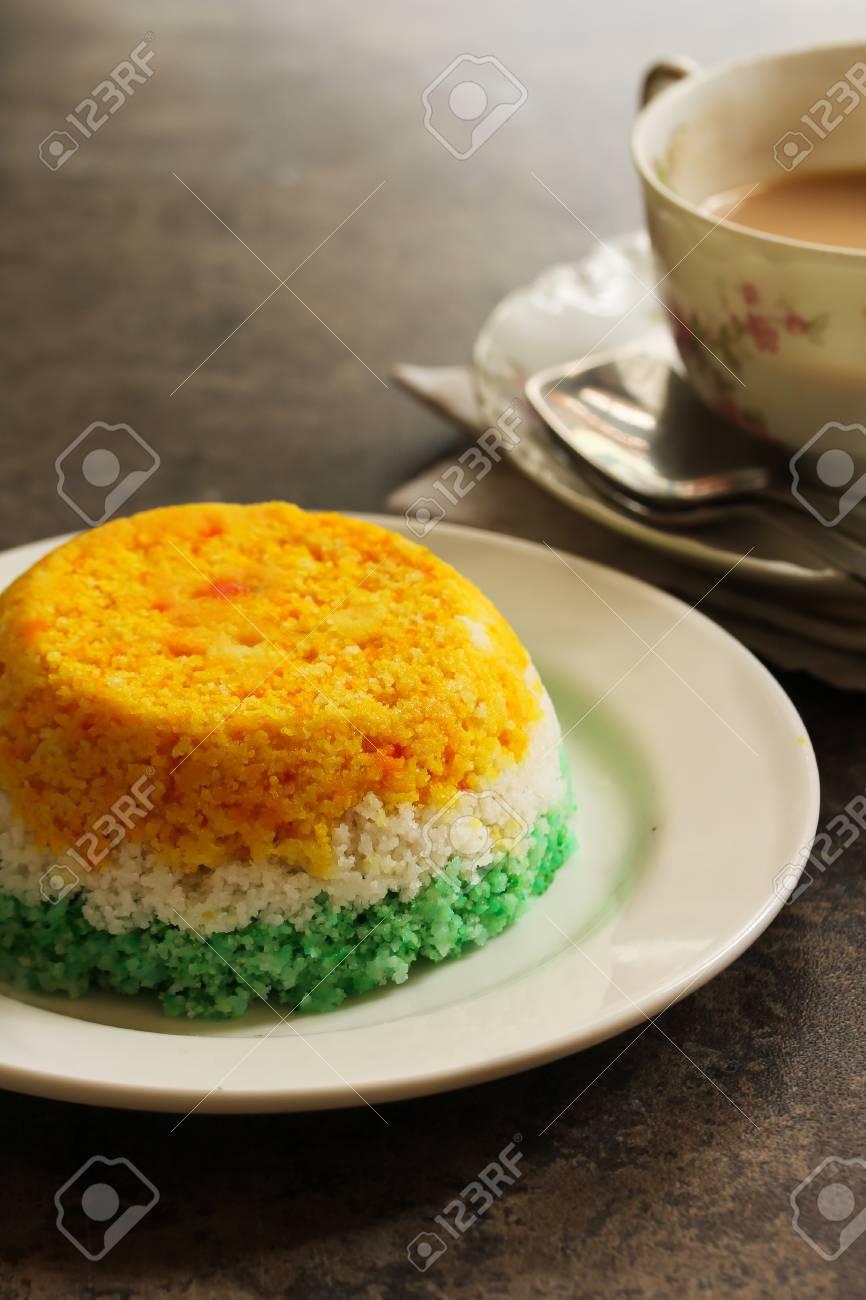 indian flag food tri color steamed rice cake or puttu for
