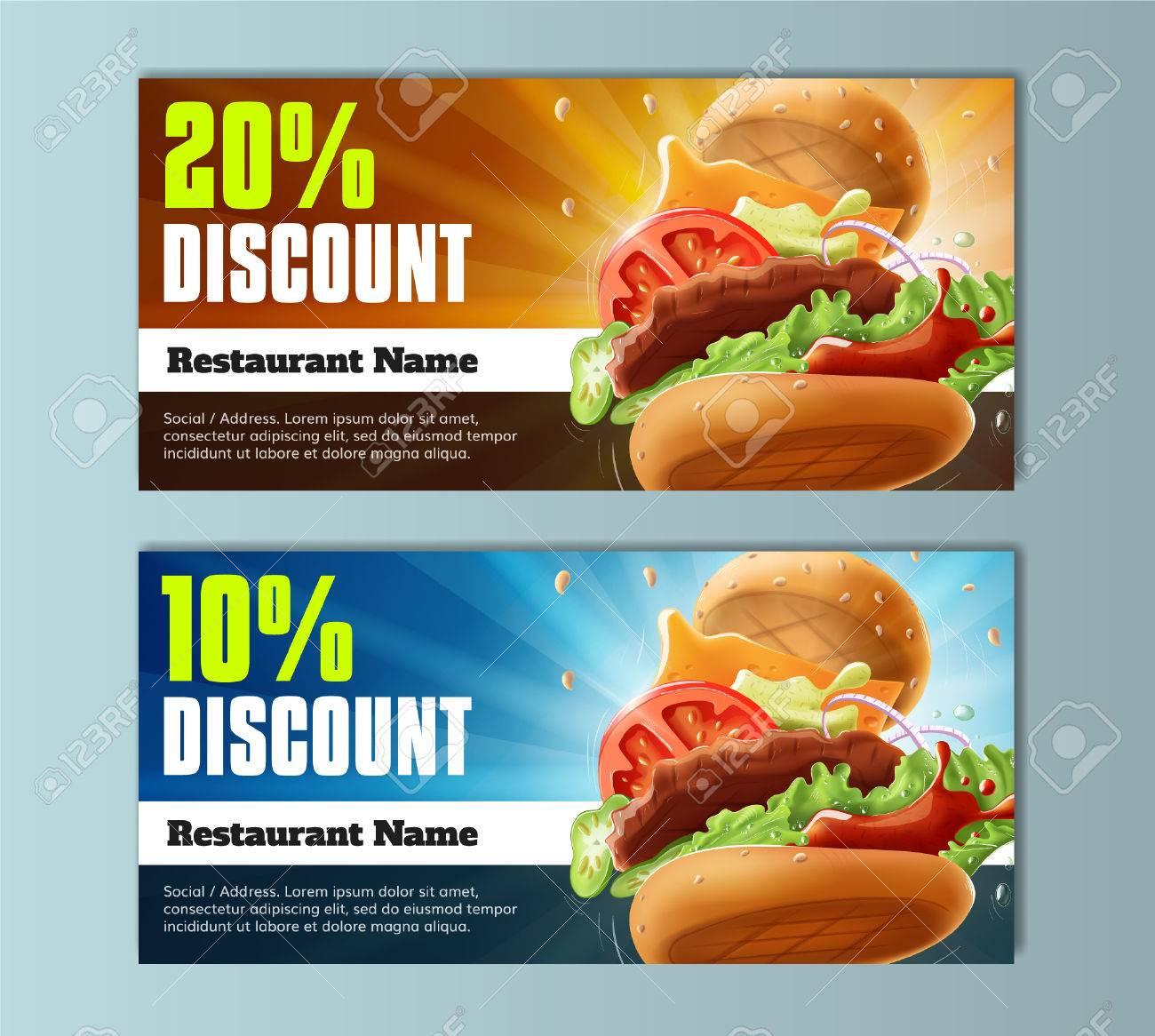 Burger Discount Voucher Template Stock Vector   80178513