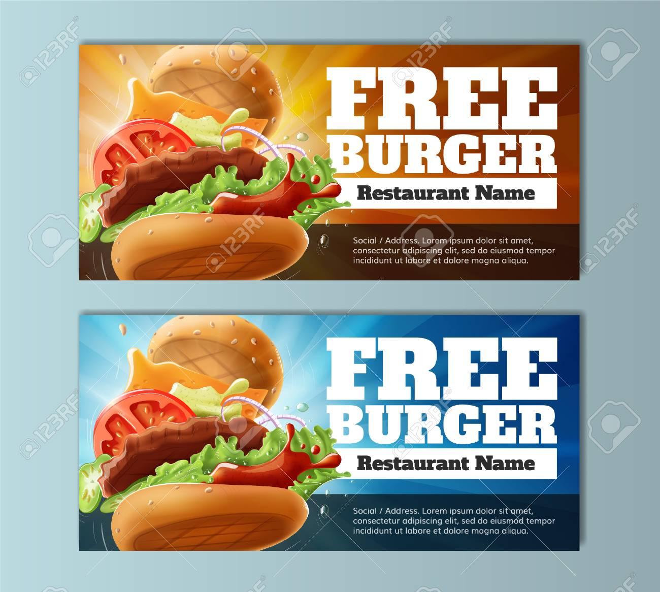 Free Burger Voucher Template Stock Vector   80178512
