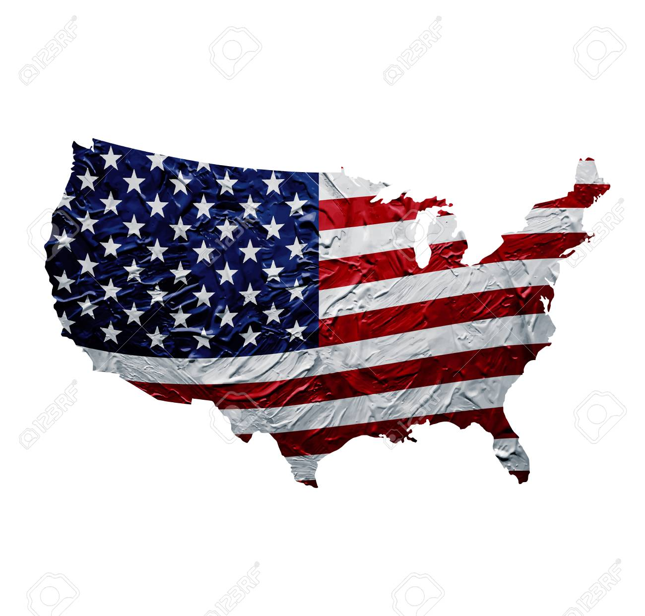 USA Map With Painted American Flag Texture Royalty Free Cliparts ...