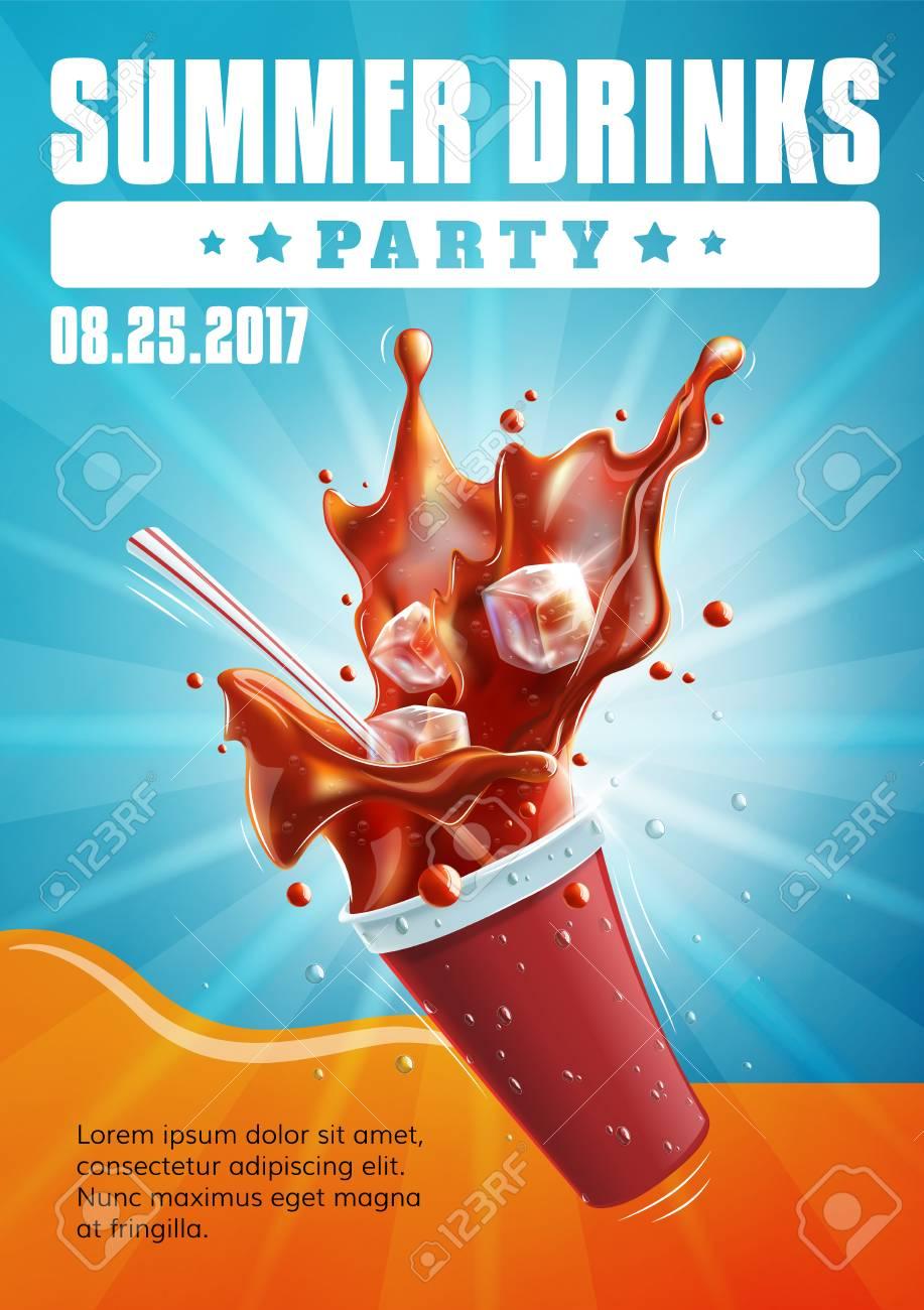 Sommer-Getränk-Party - Plakat-Flyer-Schablone Lizenzfrei Nutzbare ...