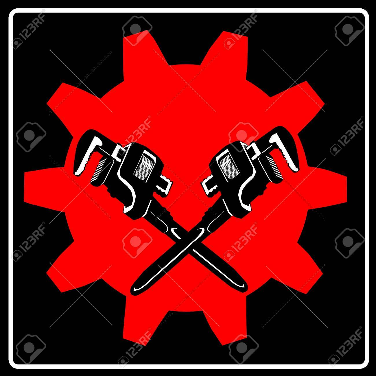 Wrench and cogwheel - sign Stock Vector - 14777193
