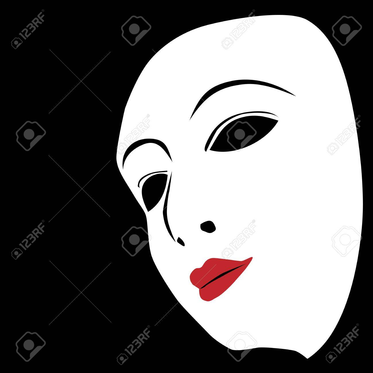 White mask on a black Stock Vector - 14777170