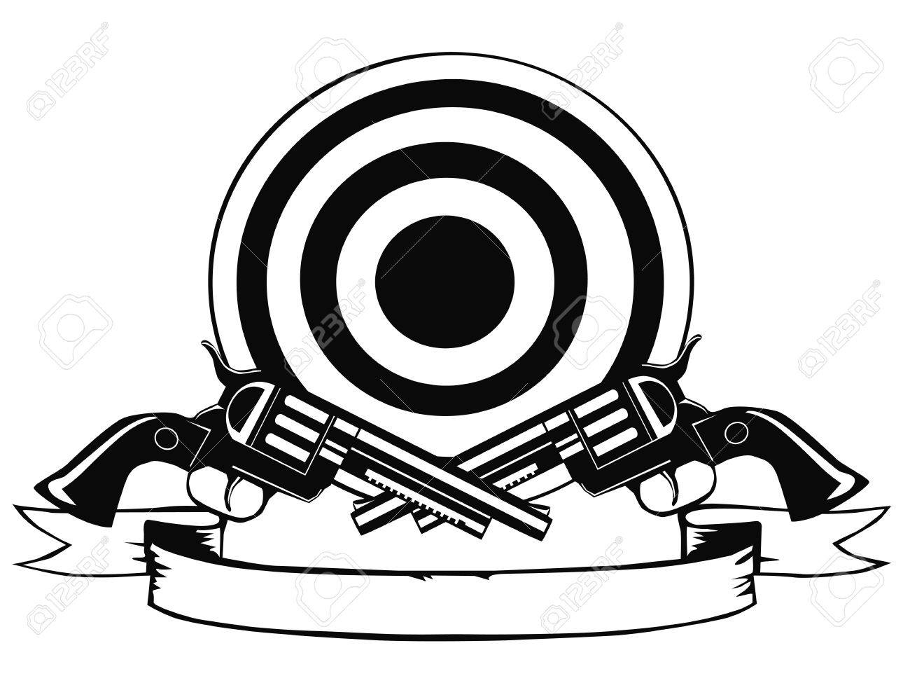 Pistols and target Stock Vector - 14777163
