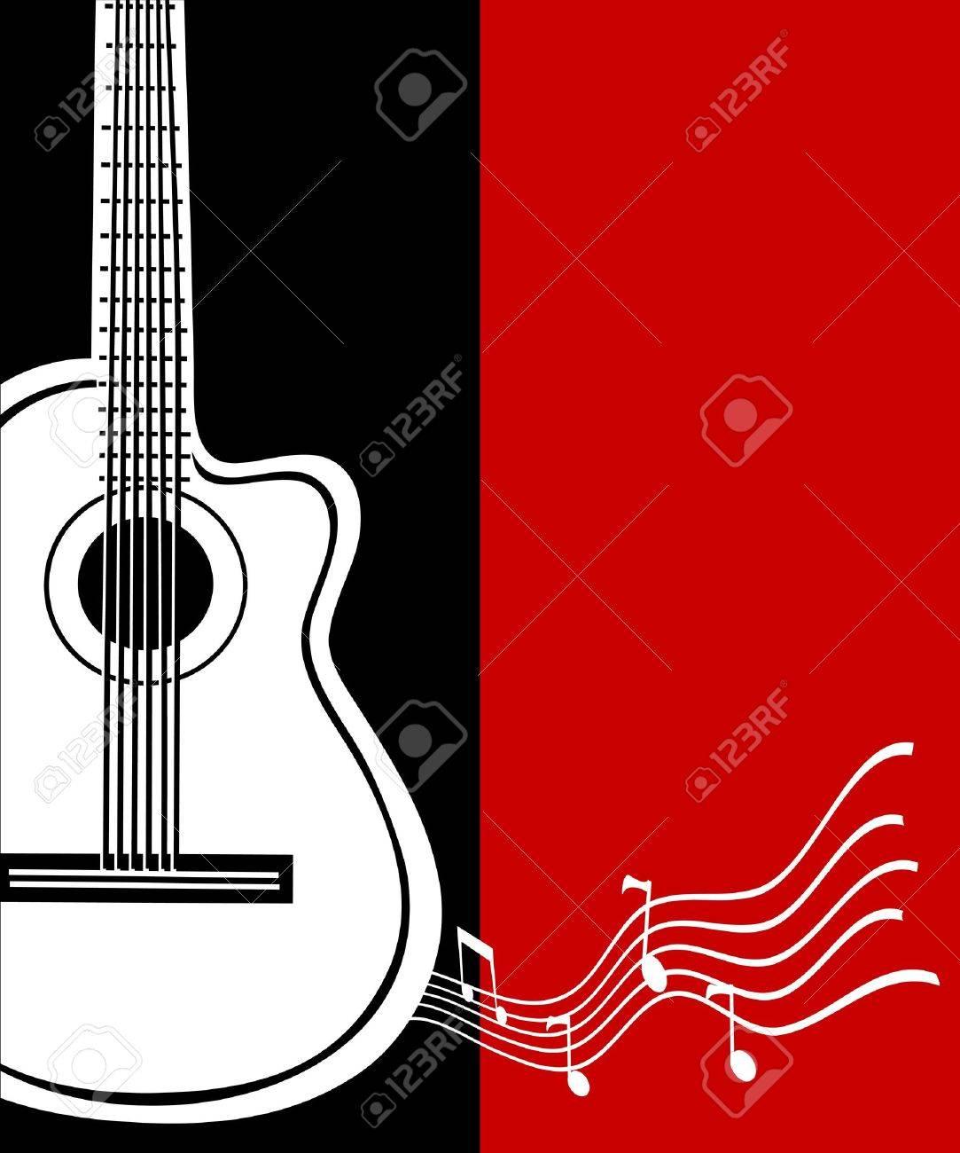 Classical vector guitar. Musical greeting card. Stock Vector - 15206997