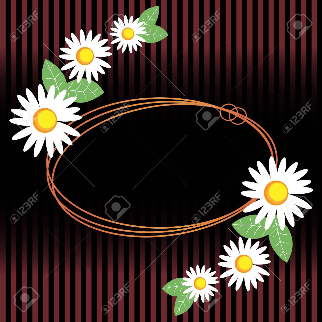 Chamomile with leaves and dew. Stock Vector - 14985014