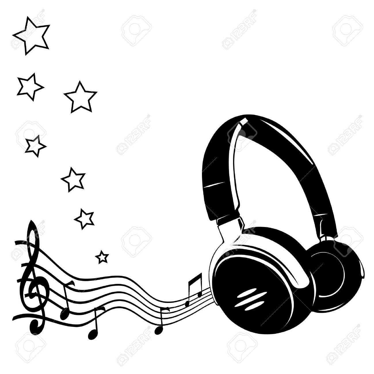 Auriculares Y Notas Concepto De La Música Ilustraciones