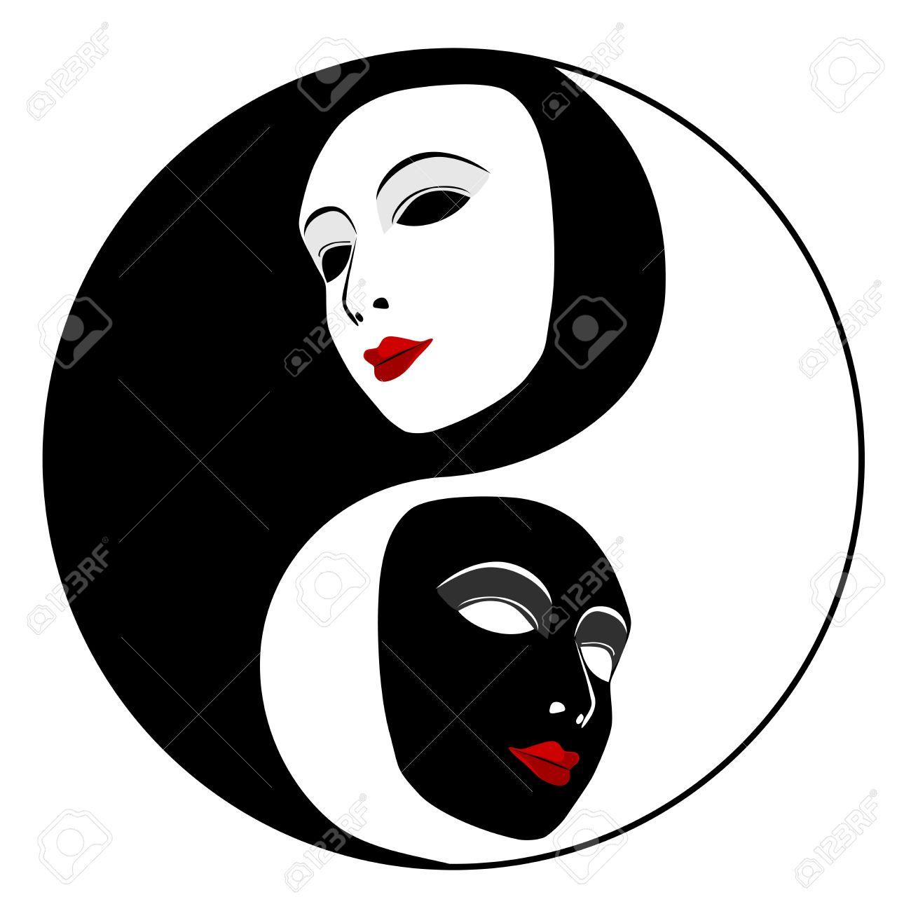 Masks  Ying yang symbol of harmony and balance Stock Vector - 17195381