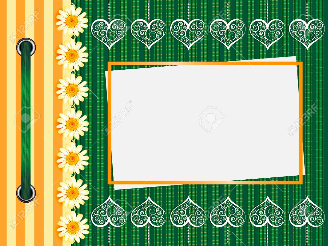 Framework for a photo or invitations. A green bow. Stock Vector - 17502412