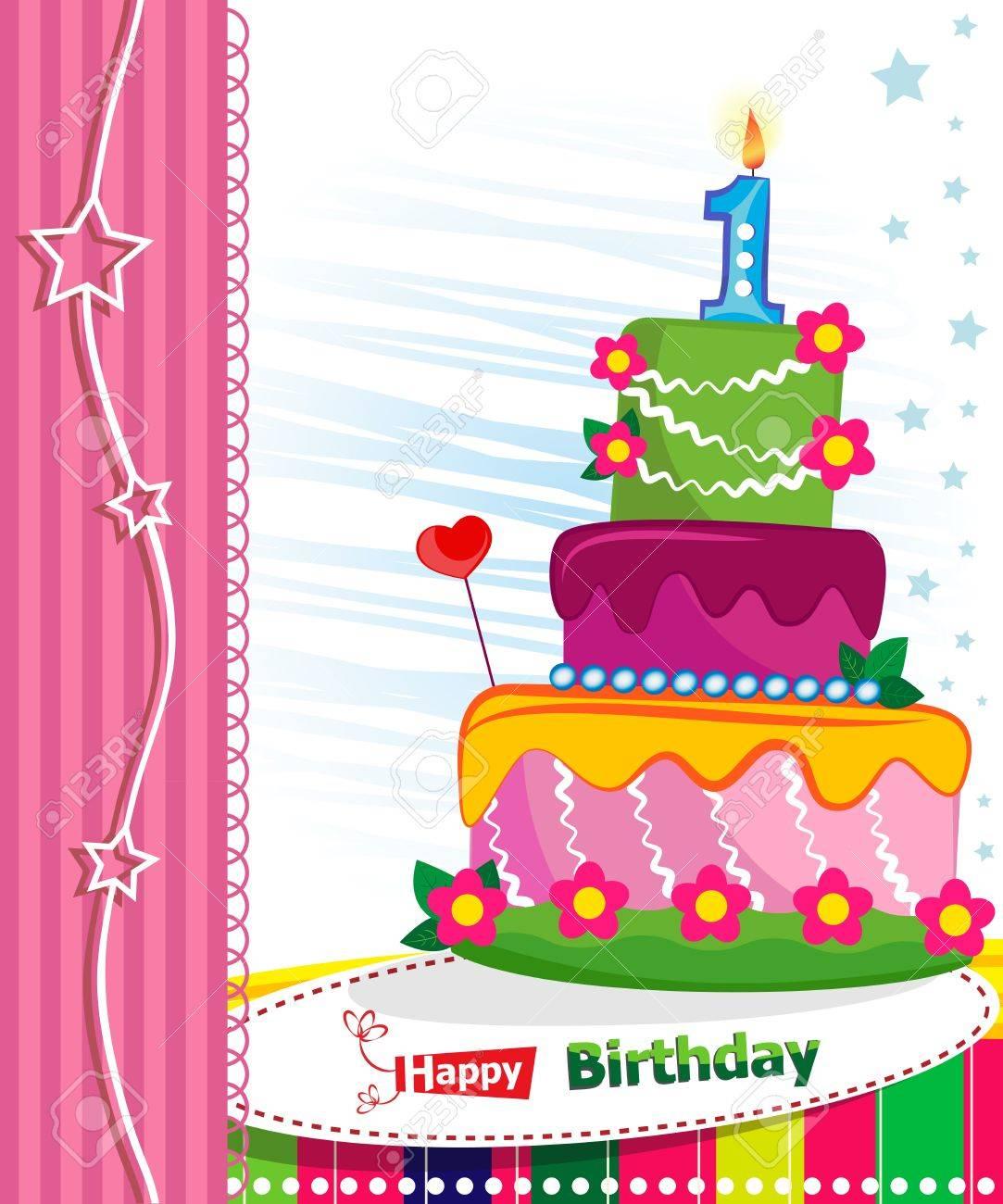 Enjoyable First Birthday Cake Children Postcard Day Of Birth Royalty Free Funny Birthday Cards Online Amentibdeldamsfinfo