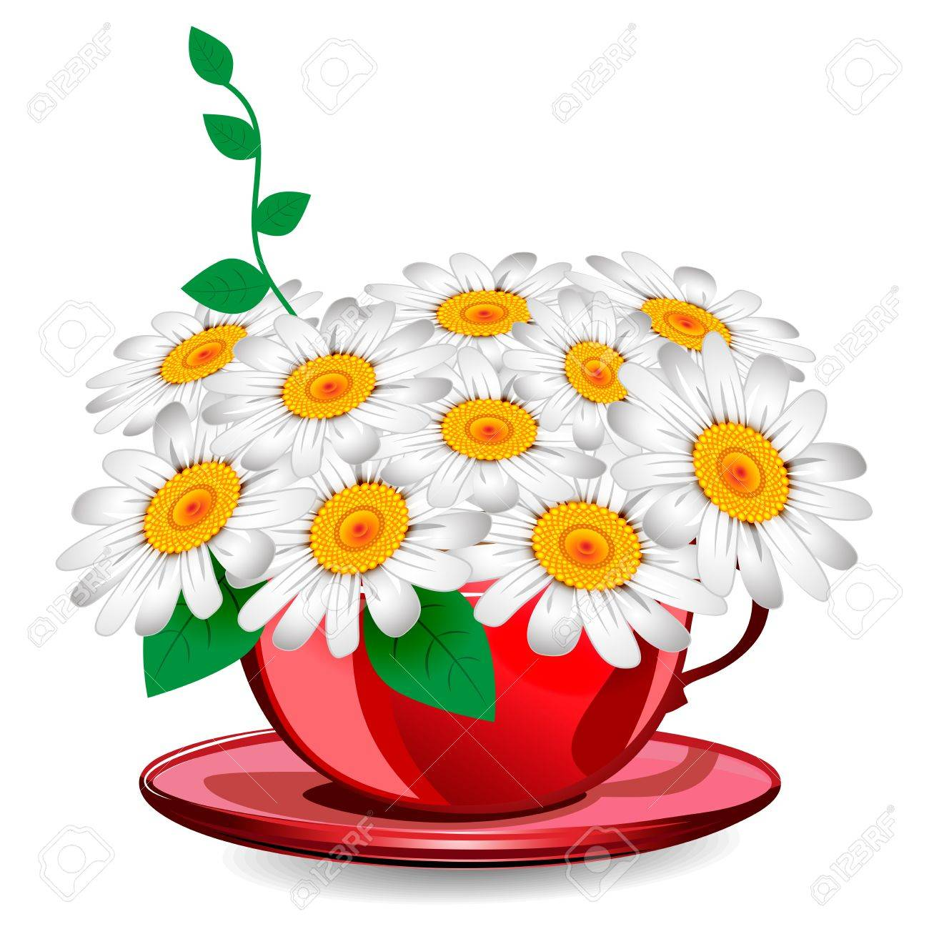 Herbal chamomile in a red cup Stock Vector - 17999465