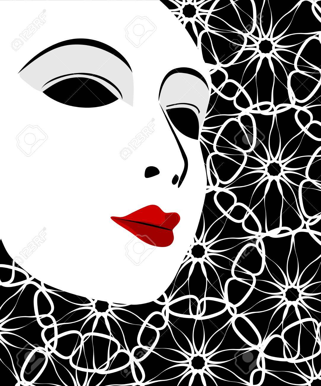 White mask and black background Stock Vector - 18036600
