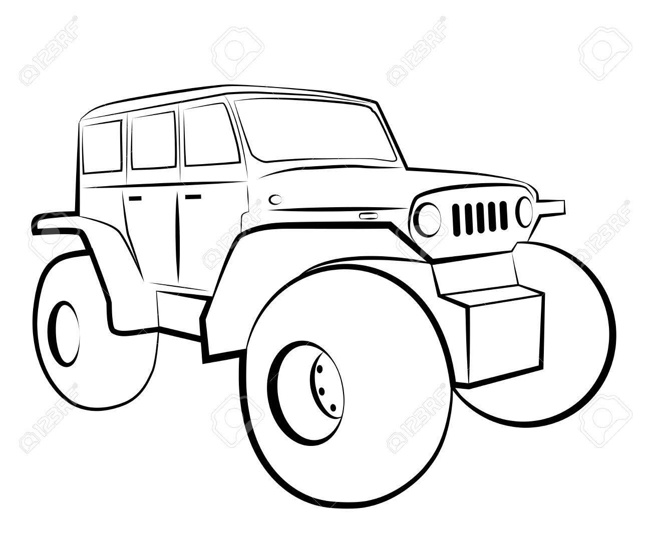 Monster Truck Cartoon 4x4 Vehicle Royalty Free Cliparts Vectors