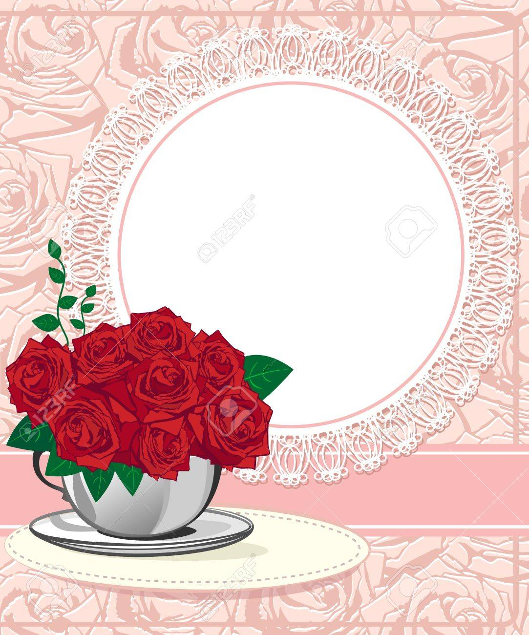 Red Rose In A White Cup. Wedding Invitations Or Announcements ...