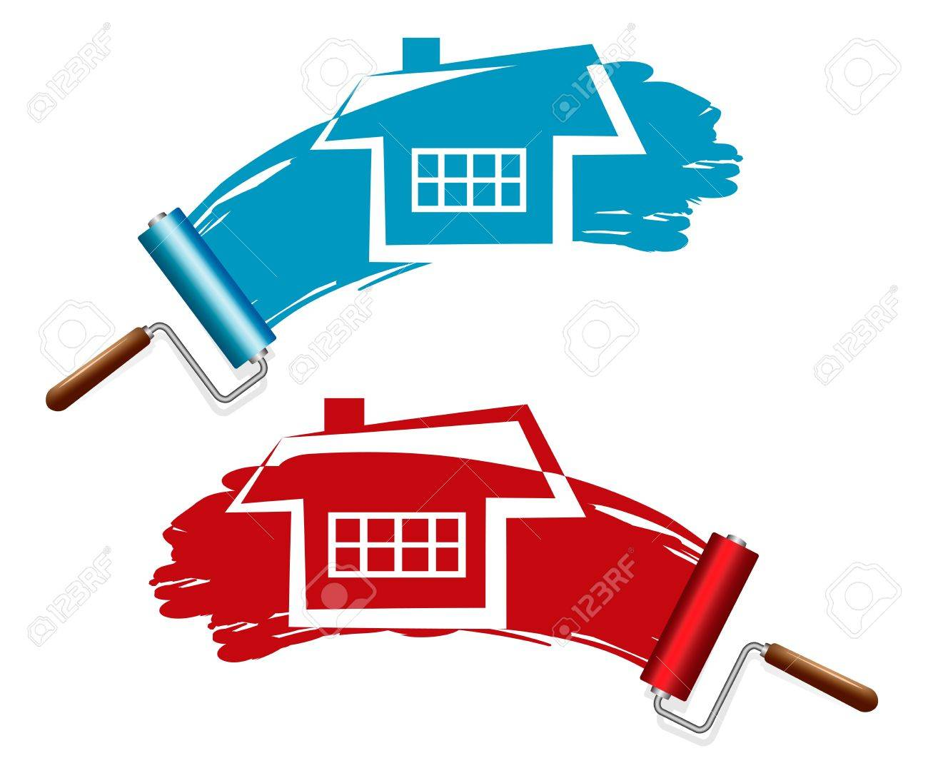 Painting the house  Paint Rollers Stock Vector - 20727727