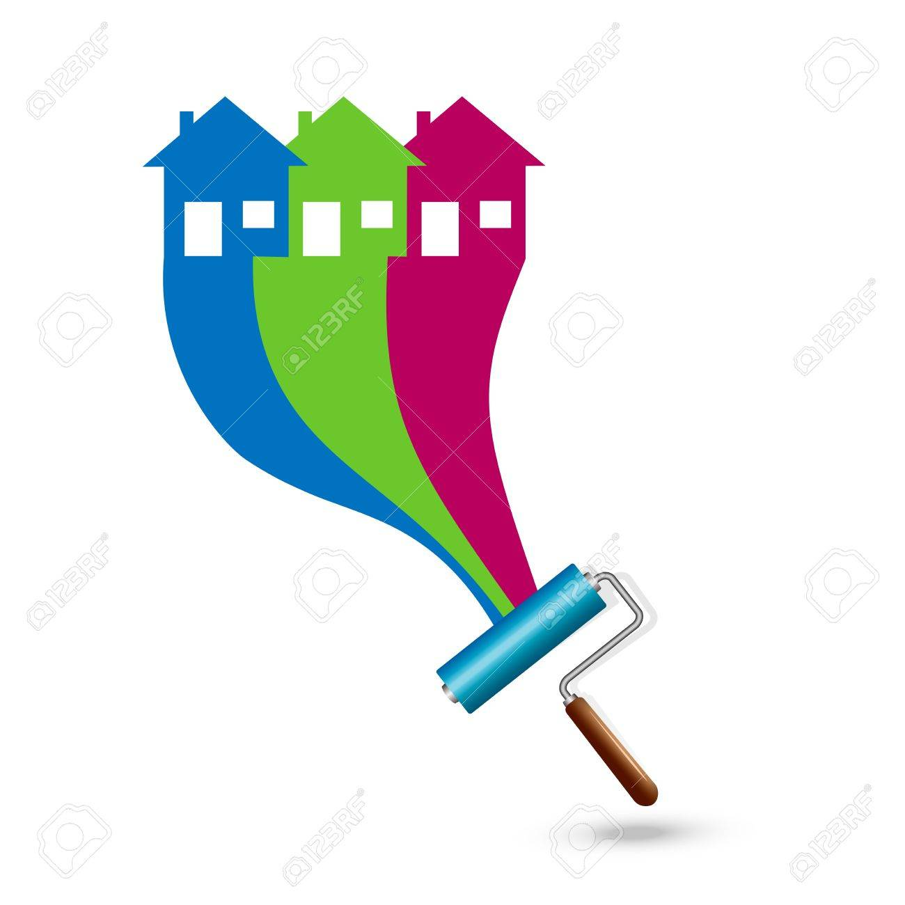 Painting the house. Paint Rollers Stock Vector - 20921265