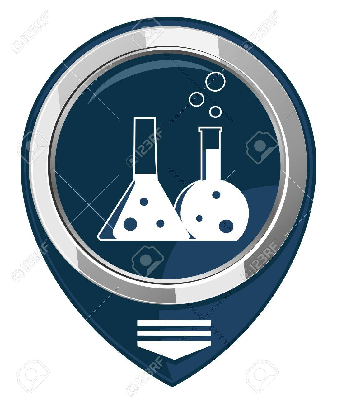 Flask with chemical reagent - map pointer  isolated Stock Vector - 21927537