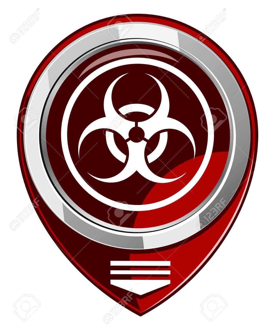 Warning symbol biohazard red map pointer Stock Vector - 22458032