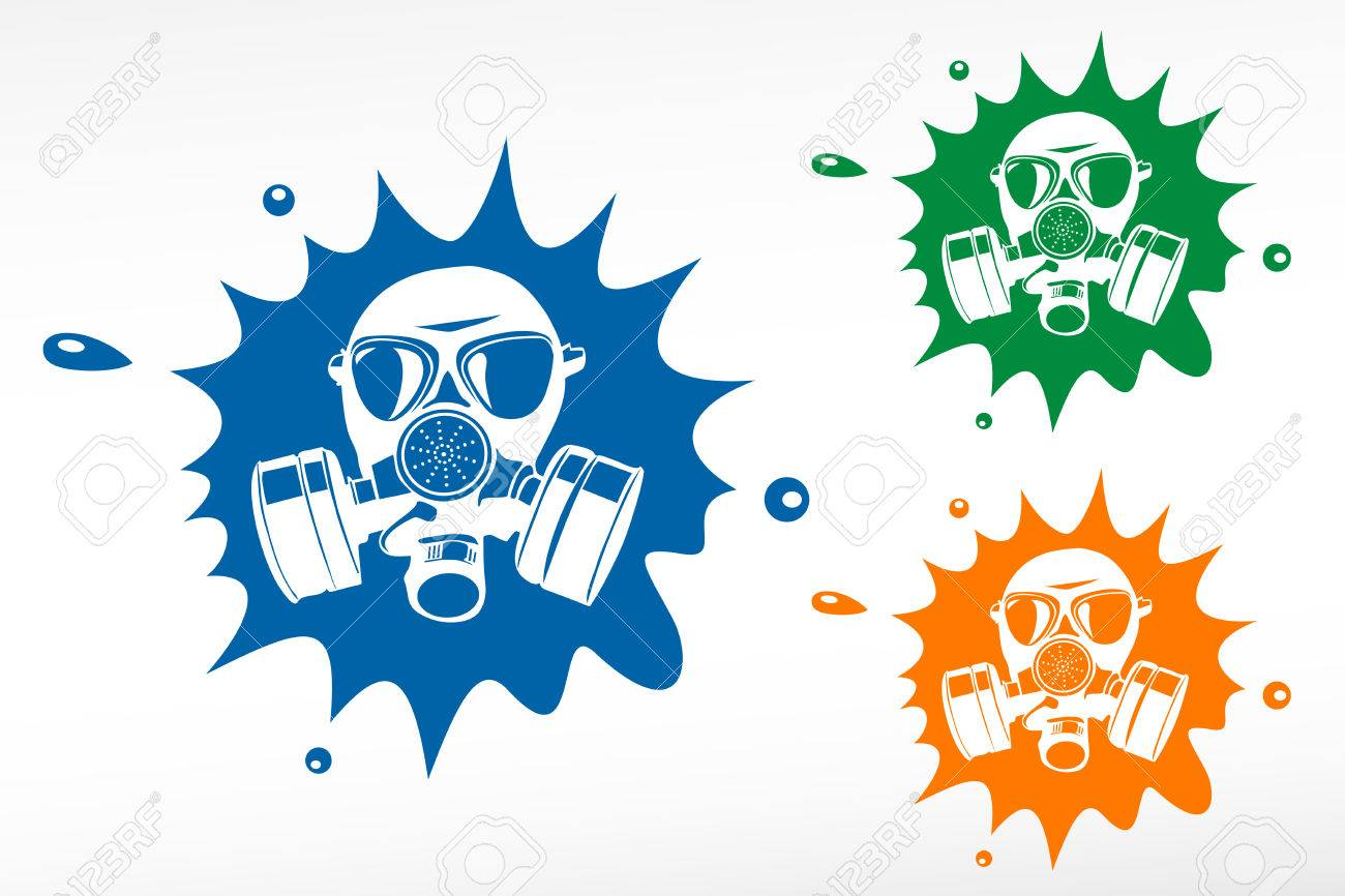 Gas mask. Color blob Stock Vector - 27229977