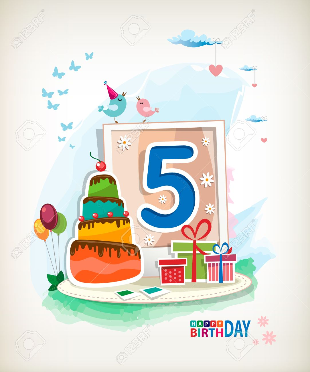 Magnificent Fifth Birthday Card Birthday Cake And Photos Royalty Free Funny Birthday Cards Online Alyptdamsfinfo