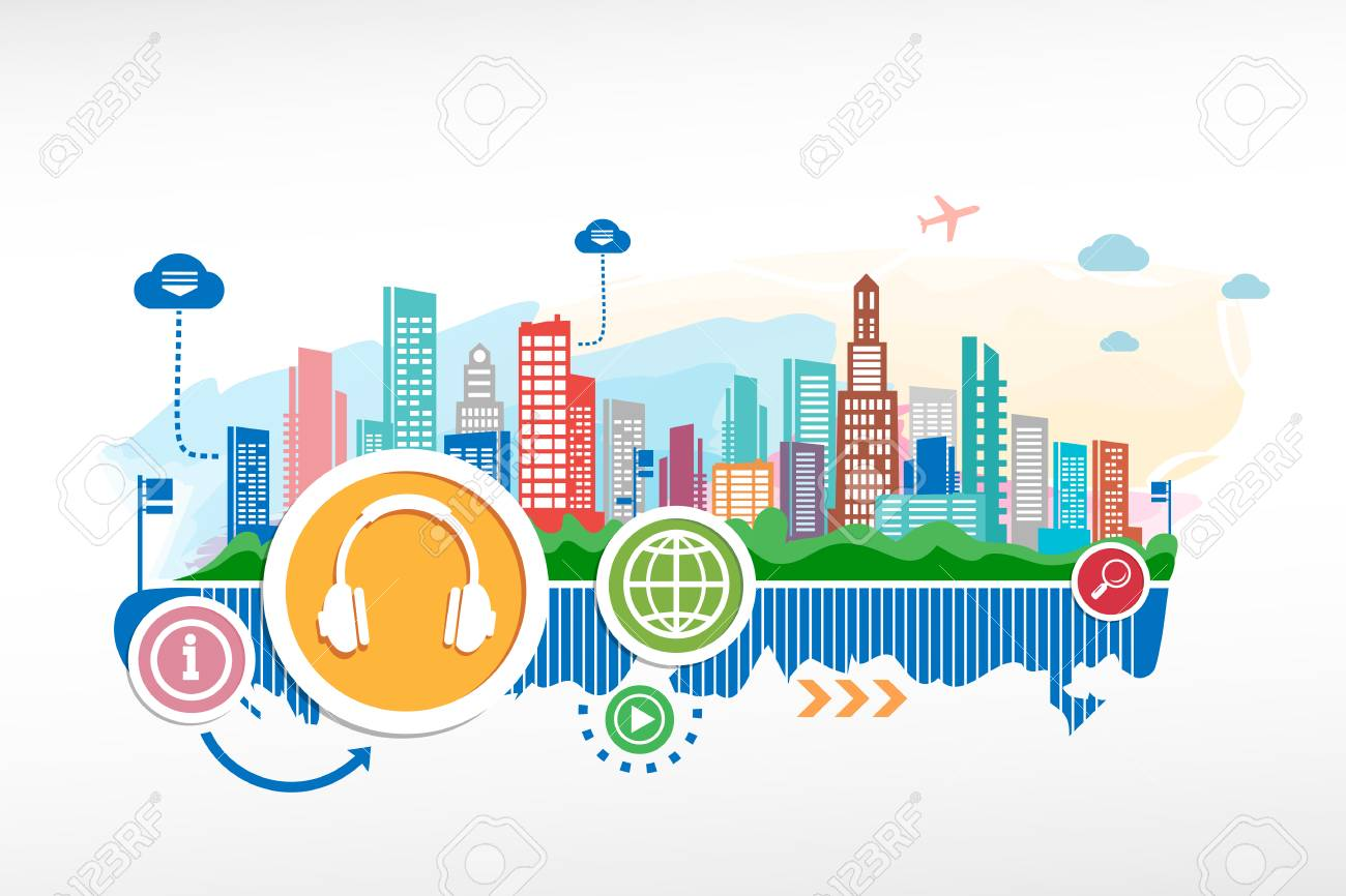 Headphones and cityscape background with different icon and elements Stock Vector - 28877056