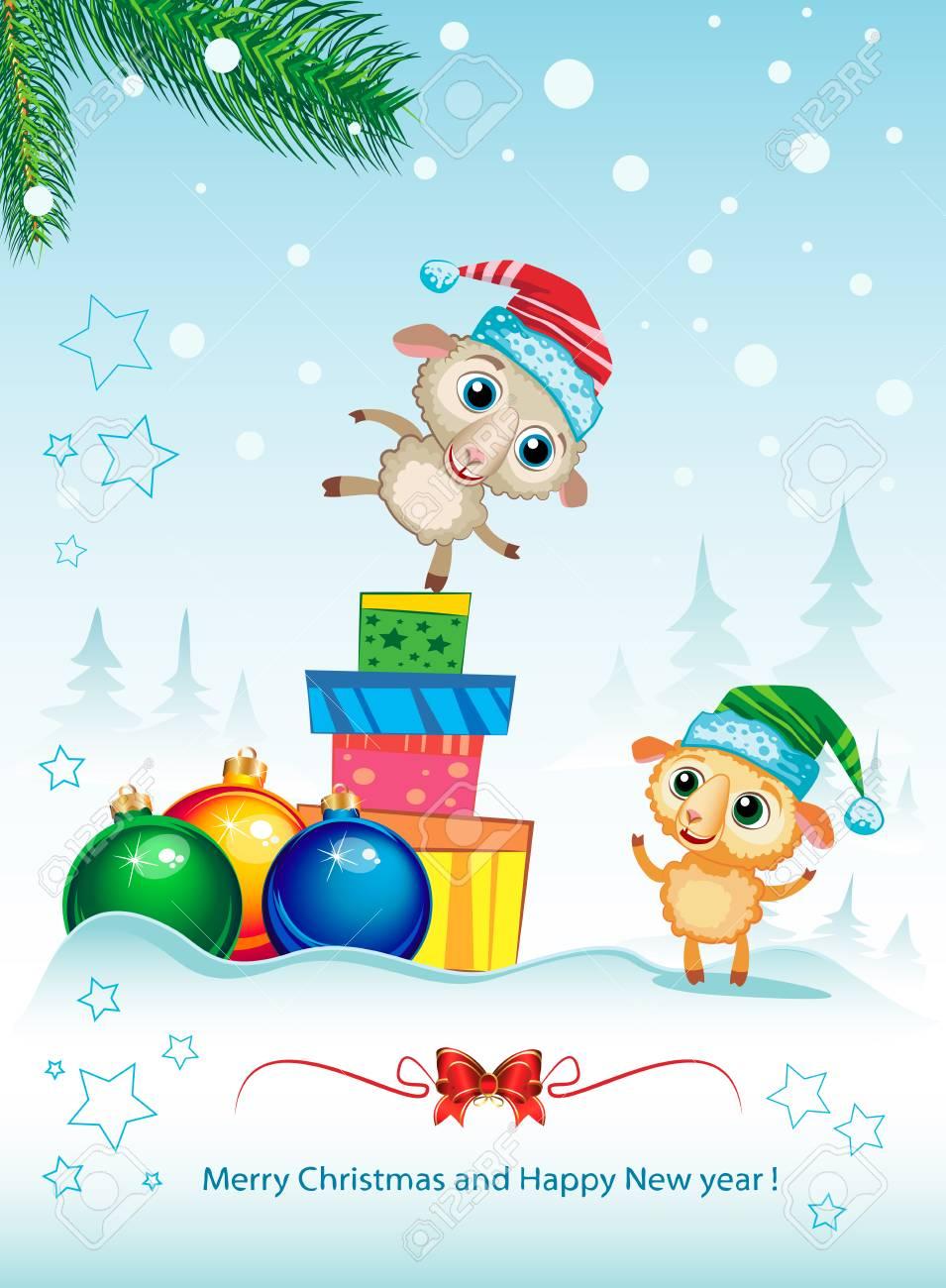 Zwei Niedliche Schafe. Frohe Weihnachten Elegant Hintergrund Für ...