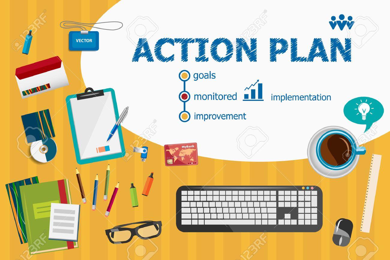 Aktionsplan Und Flaches Design Illustration Konzepte Für Business ...