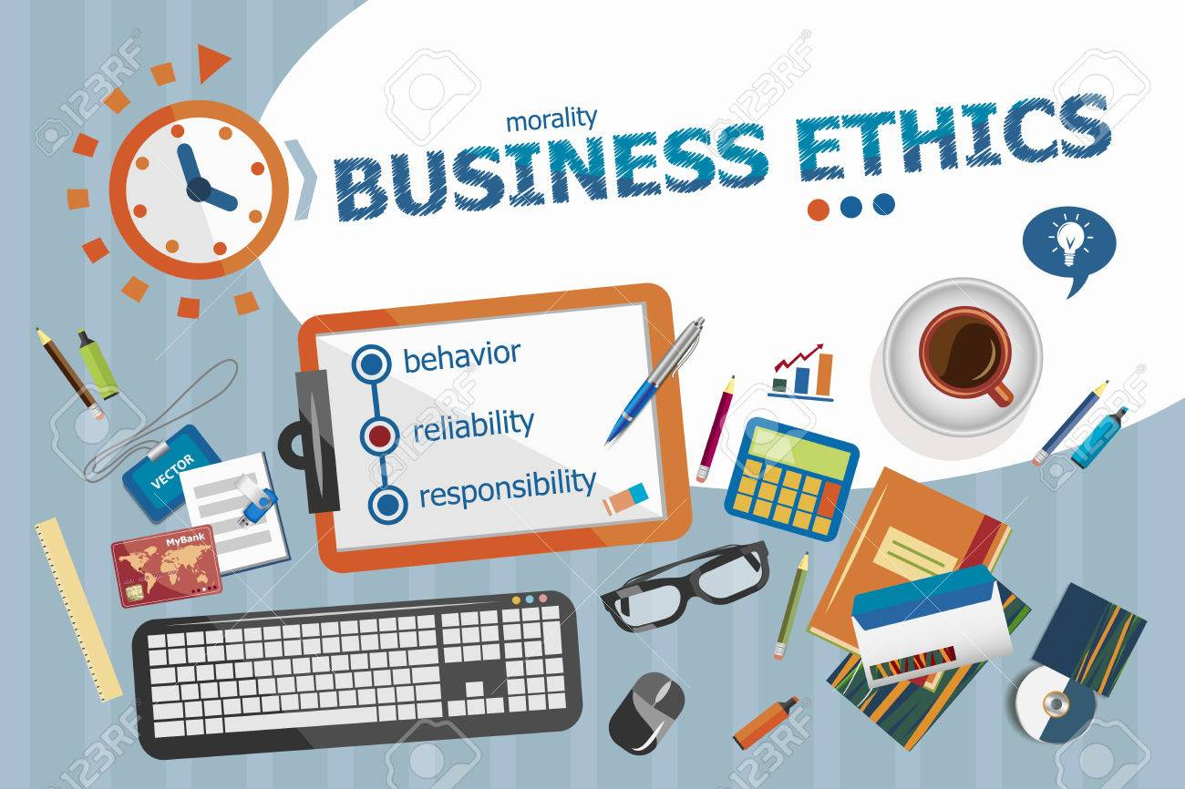 Business Ethics Design Concept. Typographic Poster. Business Ethics Concepts  For Web Banner And Printed