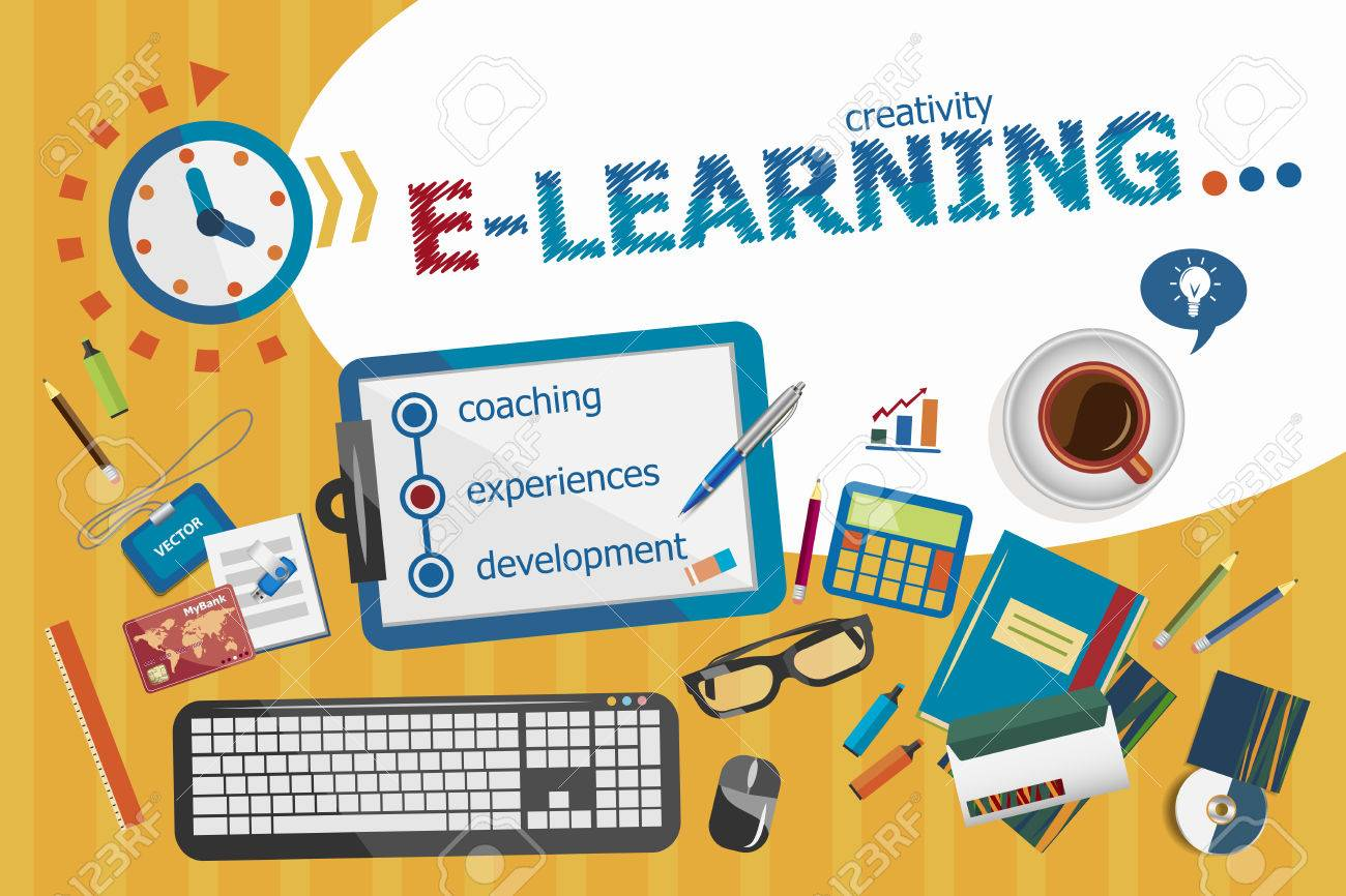 E learning poster designs - Online E Learning Design Concept Typographic Poster Online E Learning Concepts For