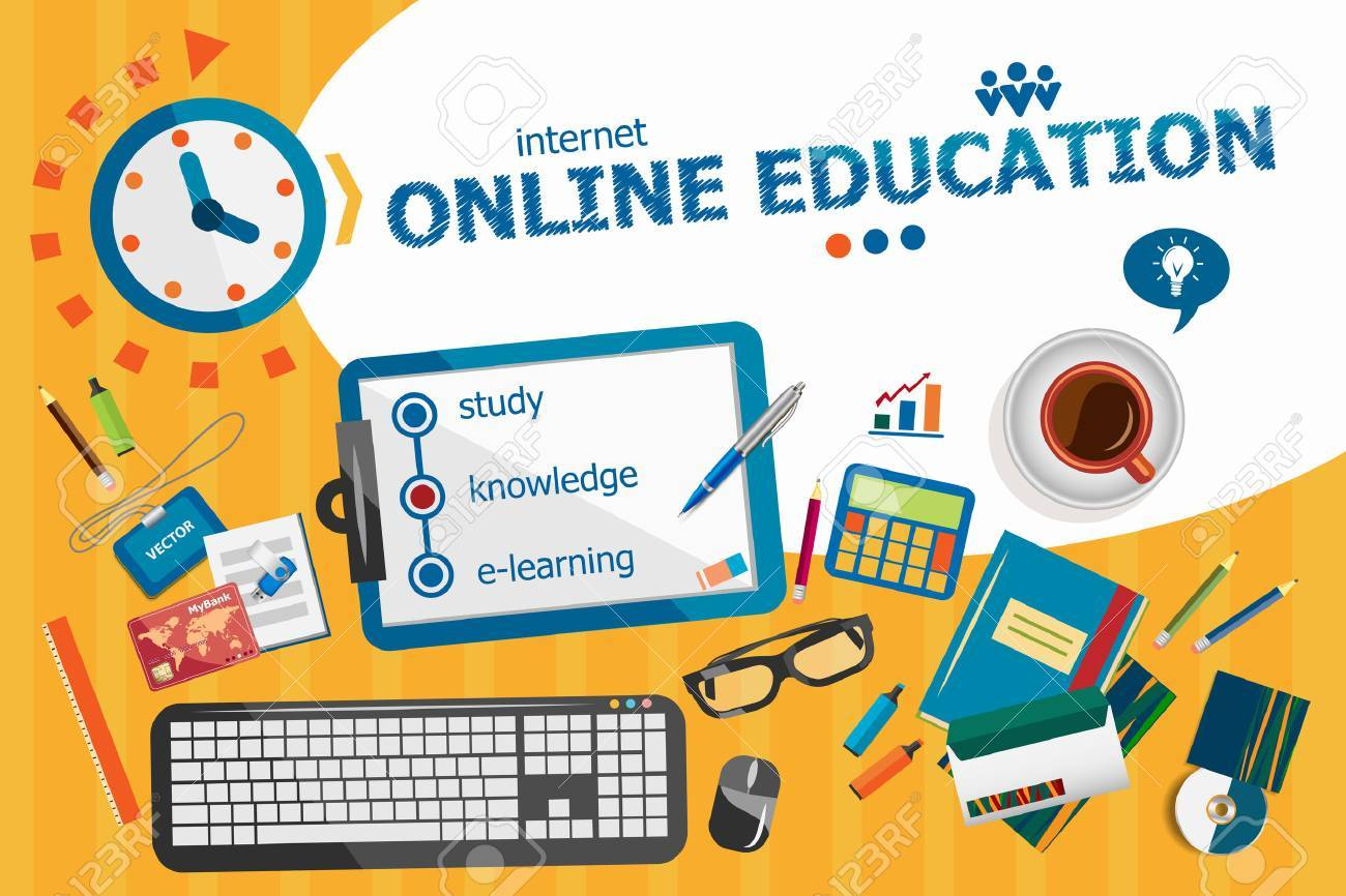 Online Education Design Concept Typographic Poster Online Education Royalty Free Cliparts Vectors And Stock Illustration Image 52180662