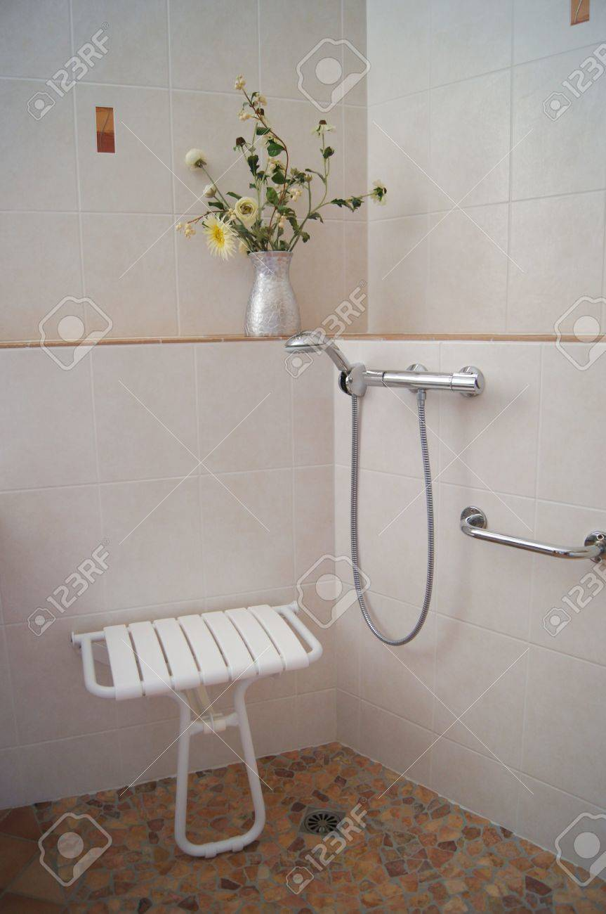 Bathroom Shower Designed For Disabled And Infirm People With.. Stock ...