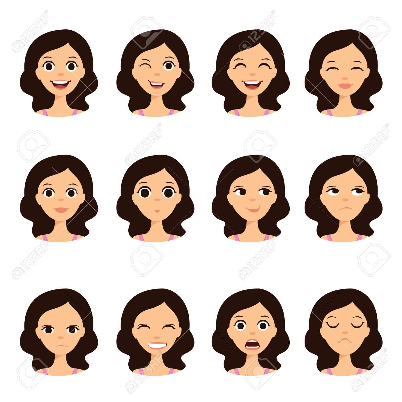 Girl Emotion Faces Cartoon Vector Illustration Woman Emoji Face