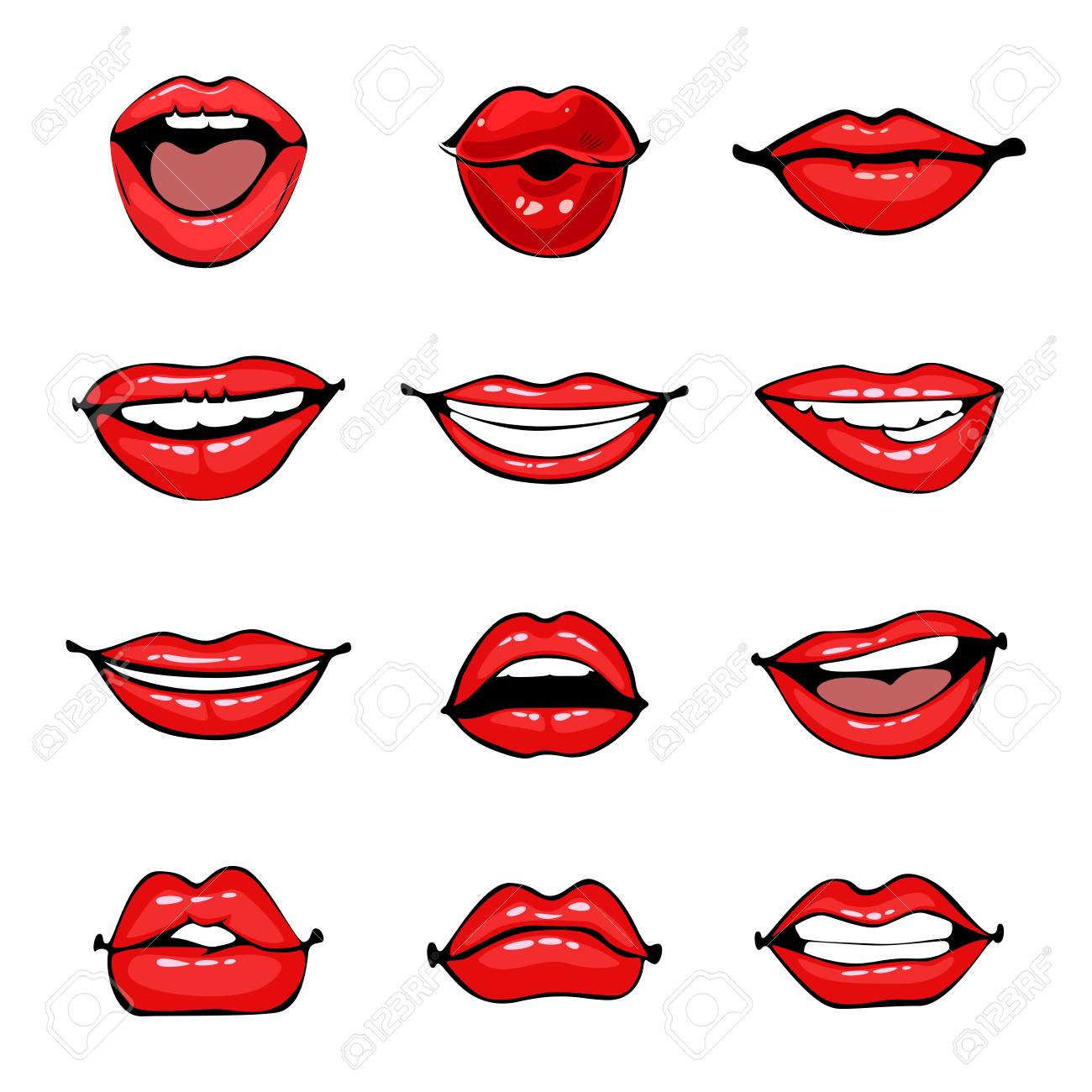 Comic Female Lips Set Smile Angry Kiss Flirt Open And Close Royalty Free Cliparts Vectors And Stock Illustration Image 95687458