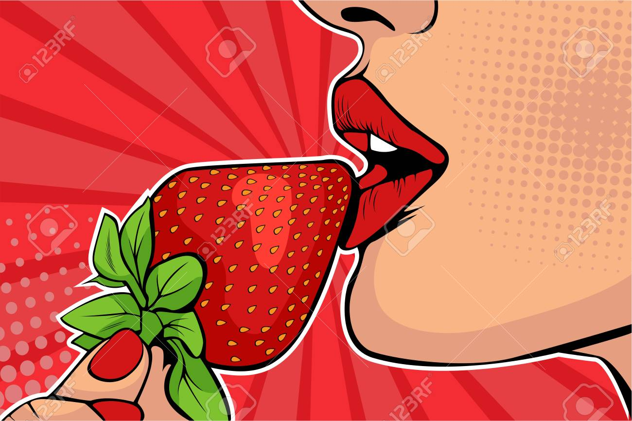 Girls lips with strawberry. Woman eating healthy food. Erotic fantasy. Vector Illustration in pop art retro comic style. - 109429241