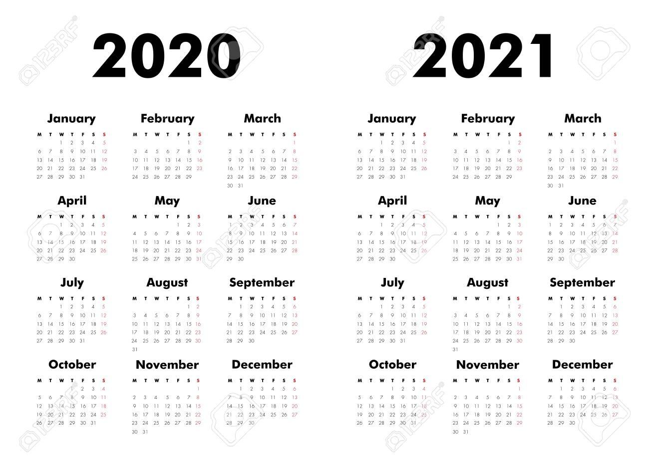 2021 Calendar 2020 Vector Calendar On 2020, 2021 Years. Week Starts Sunday
