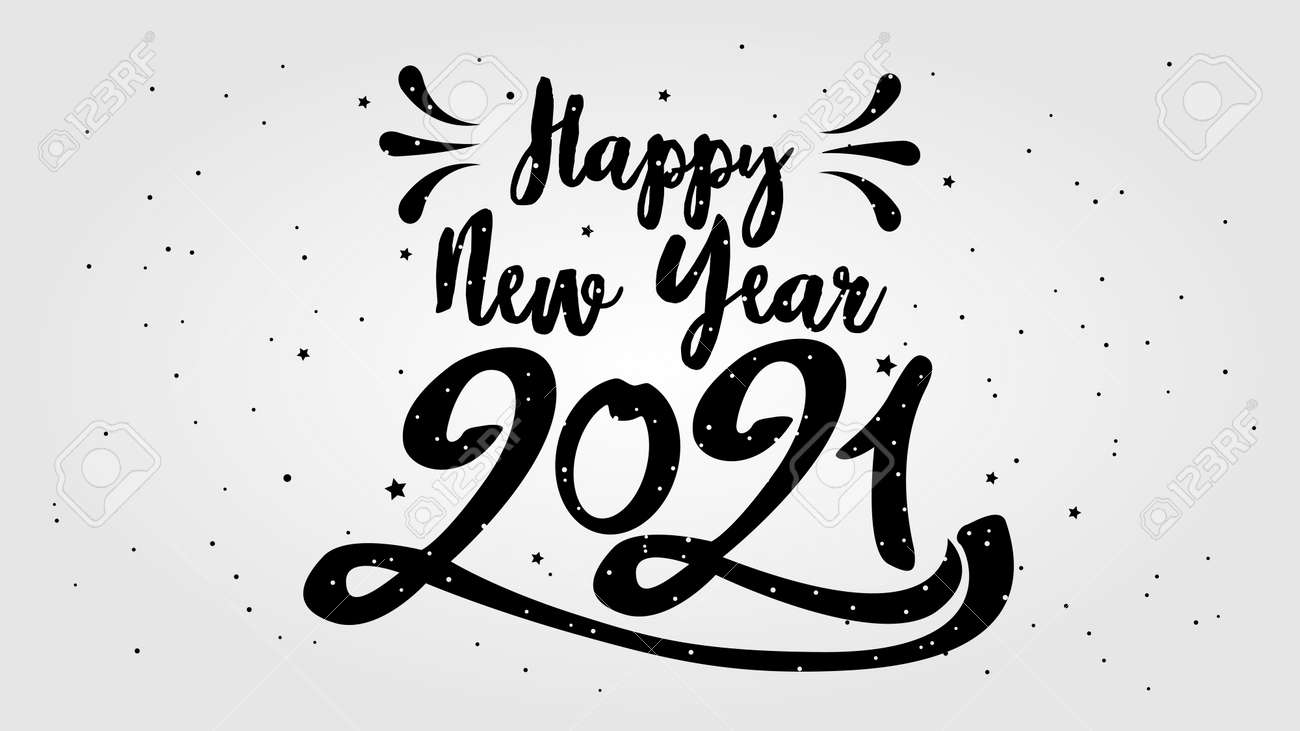 Happy Typographical 2021 New Year. Vector retro Illustration With Lettering Composition And Burst. Holiday vintage festive label - 158977044
