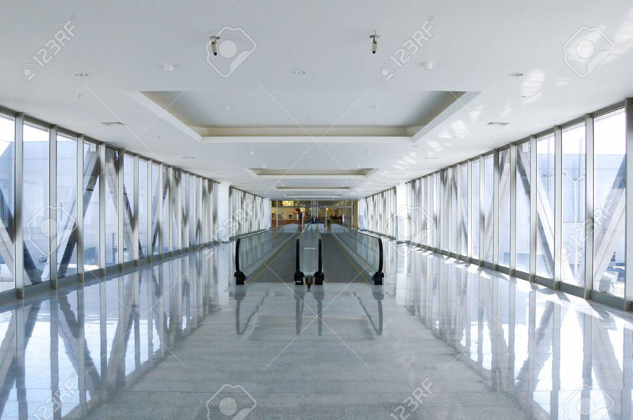 Glass Wall Modern Passage With Moving Staircase Stock Photo   884000