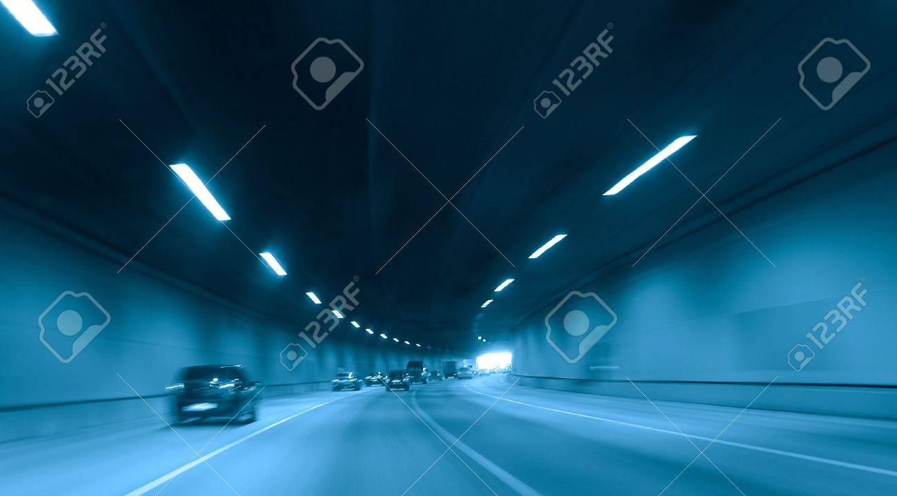 blue  highway tunnel Stock Photo - 2876235