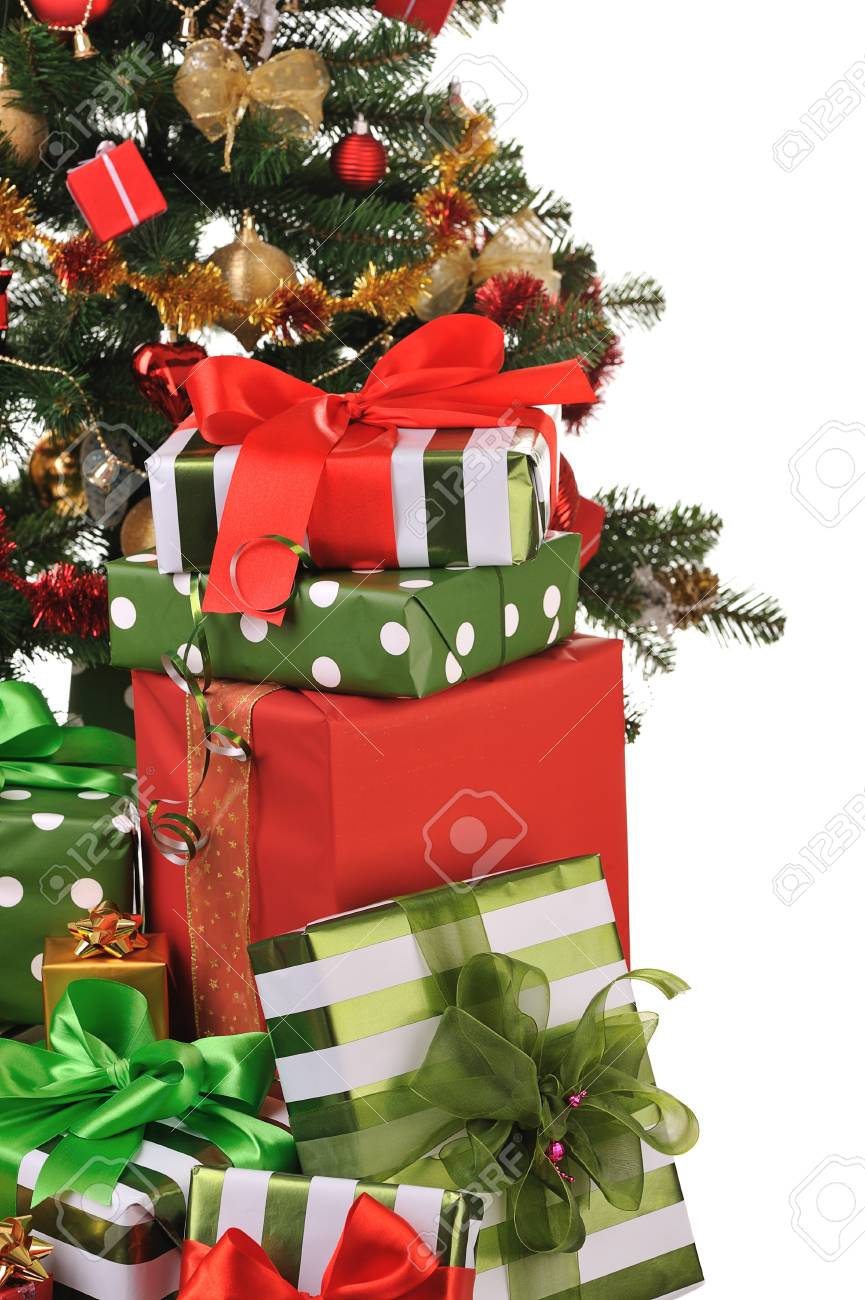 decorated Christmas fir tree with gifts Stock Photo - 4543618