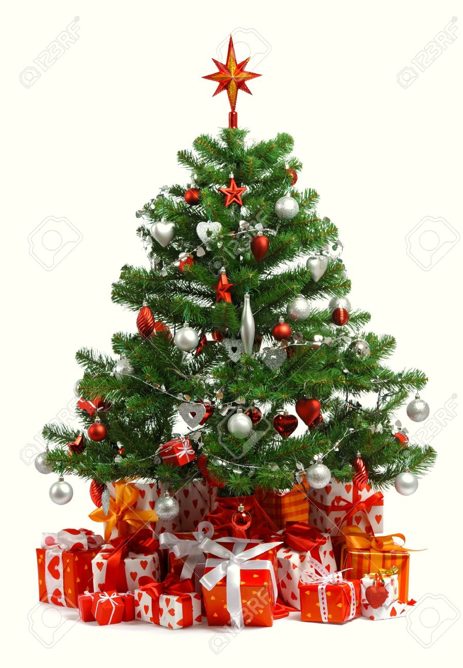 White christmas tree with red and green decorations - Christmas Tree With Heap Of Red Gift Boxes Decorated With Satin Ribbon Isolated On White Background